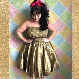 Gold sparkly designer strapless bubble party dress